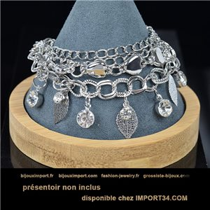 Pretty multirang charms bracelet set with high-gloss rhinestones in silver metal 79077