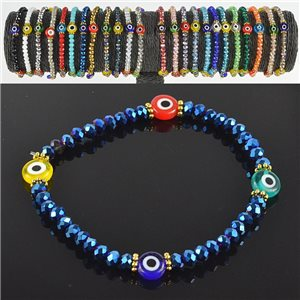 Lucky charm bracelet faceted crystal beads on elastic thread Handmade 79043