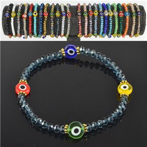 Lucky charm bracelet faceted crystal beads on elastic thread Handmade 79046
