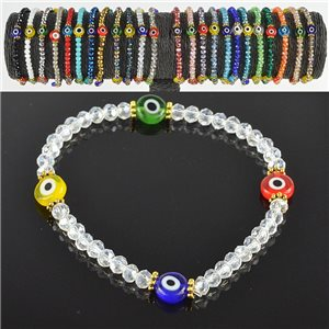 Lucky charm bracelet faceted crystal beads on elastic thread Handmade 79047