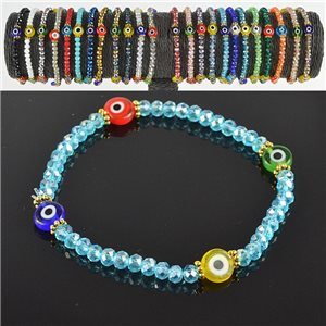 Lucky charm bracelet faceted crystal beads on elastic thread Handmade 79053