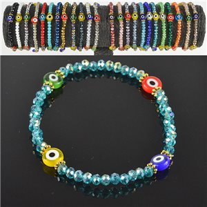 Lucky charm bracelet faceted crystal beads on elastic thread Handmade 79055
