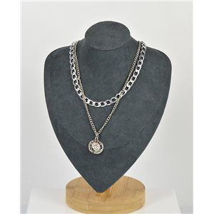 Necklace Long Double Rows Metal Silver New Collection 79147
