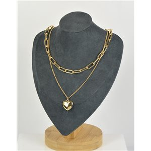 Double Row Long Necklace in Gold metal New Collection 79150