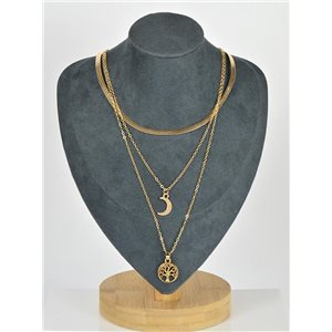 Gold Metal Triple Row Long Necklace New Collection 79123