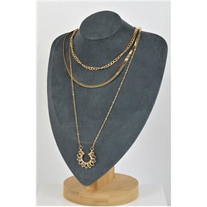 Gold Metal Triple Row Long Necklace New Collection 79125