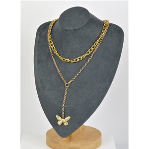 Double Rows Long Necklace in Gold metal New Collection 79154