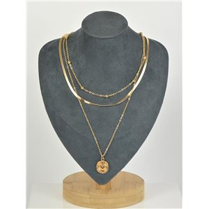 Gold Metal Triple Row Long Necklace New Collection 79127