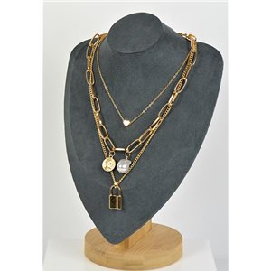 Necklace Long Necklace Triple Rows Gold metal New Collection 79144