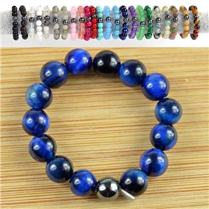 4mm Pearl Rings in Blue Tiger Eye Stone on elastic thread New Collection 79170
