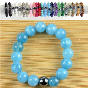 4mm Pearl Rings in Aquamarine Stone on elastic thread New Collection 79169