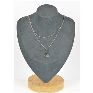 Stainless Steel Double Row Long Necklace L40-45cm New Collection 79208