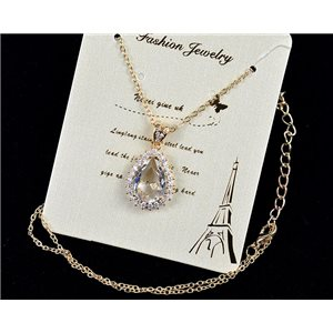 Gold chain necklace 42-48cm - Gold Zircon diamond cut pendant 79114