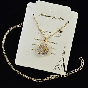 Gold chain necklace 42-48cm - Gold Zircon diamond cut pendant 79179