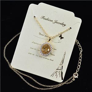 Gold fine chain necklace 42-48cm - Gold Zircon diamond cut pendant 79183