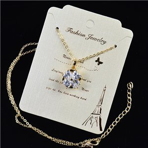 Gold chain necklace 42-48cm - Gold Zircon diamond cut pendant 79188