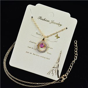 Gold fine chain necklace 42-48cm - Gold Zircon diamond cut pendant 79193