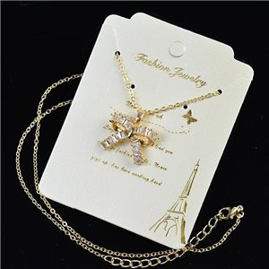 Gold chain necklace 42-48cm - Gold Zircon diamond cut pendant 79201