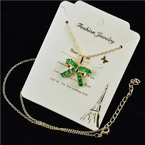 Gold chain necklace 42-48cm - Gold Zircon diamond cut pendant 79203