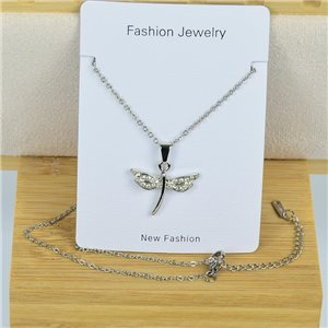 IRIS Rhinestone Pendant Necklace on Thin Steel Chain L40-45cm New Collection 79083