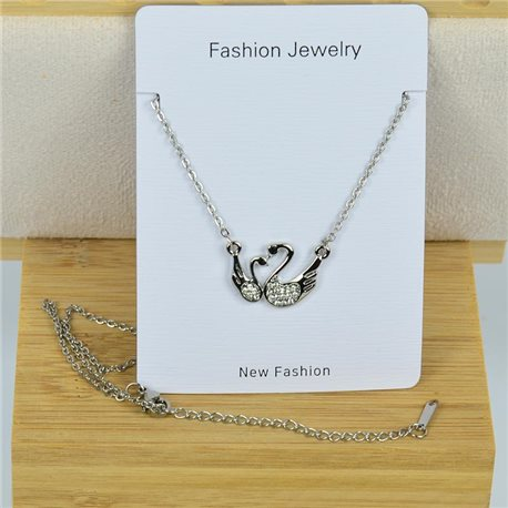 IRIS Rhinestone Pendant Necklace on Thin Steel Chain L40-45cm New Collection 79089