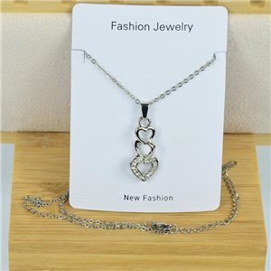 IRIS Rhinestone Pendant Necklace on Thin Steel Chain L40-45cm New Collection 79092