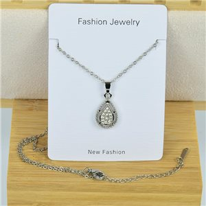 IRIS Rhinestone Pendant Necklace on Thin Steel Chain L40-45cm New Collection 79098