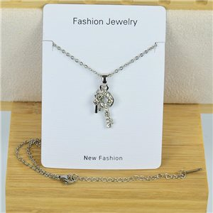IRIS Rhinestone Pendant Necklace on Thin Steel Chain L40-45cm New Collection 79100