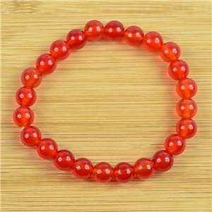 8mm Pearl Bracelet in Carnelian Stone on elastic thread 79229
