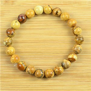 8mm Pearl Bracelet in Landscape Jasper Stone on elastic thread 79235