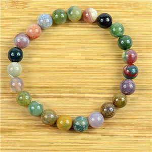 8mm Pearl Bracelet in Heliotrope Jasper Stone on elastic thread 79238