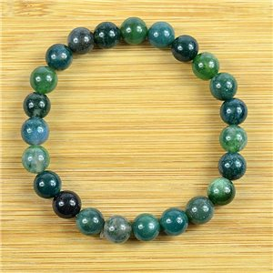 8mm Pearl Bracelet in Aquatic Agate Stone on elastic thread 79230