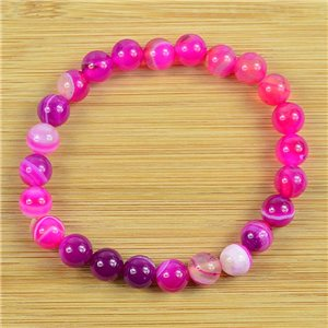 8mm Pearl Bracelet in Fuchsia Agate Stone on elastic thread 79233