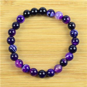 8mm Pearl Bracelet in Purple Agate Stone on elastic thread 79234