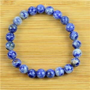 8mm Pearl Bracelet in Lilac Agate Stone on elastic thread 79236