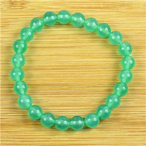 8mm Pearl Bracelet in Green Aventurine Stone on elastic thread 79226