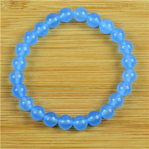 8mm Pearl Bracelet in Blue Aventurine Stone on elastic thread 79227