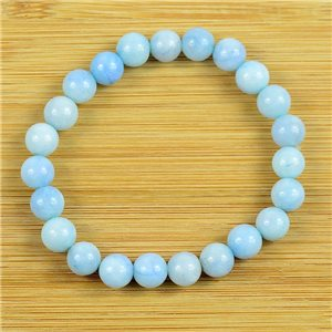 8mm Pearl Bracelet in Aquamarine Stone on elastic thread 79237
