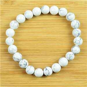 8mm Pearl Bracelet in White Howlite Stone on elastic thread 79239