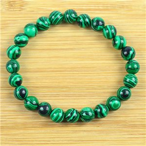 8mm Pearl Bracelet in Malachite Stone on elastic thread 79224