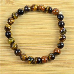 8mm Tiger Eye Stone Bead Bracelet on elastic thread 79222