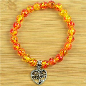 Lucky Tree of Life Beads Bracelet 8mm in Amber Stone * Flower on elastic thread 79244