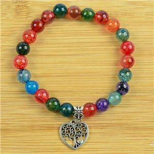 Lucky Tree of Life Beads Bracelet 8mm in Multicolor Dragon Vein Agate Stone on elastic thread 79248