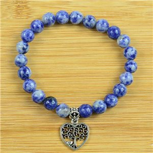 Lucky Tree of Life Bracelet 8mm Beads in Lilac Agate Stone on elastic thread 79246