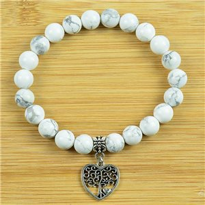 Lucky Tree of Life Bracelet 8mm Beads in White Howlite Stone on elastic thread 79240