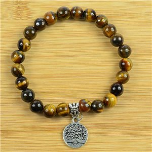 Tree of Life Lucky Bracelet 8mm Beads in Tiger Eye Stone on elastic thread 79252