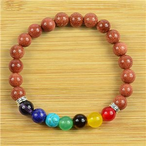 Lucky Bracelet Collection 7 Chakras Beads 8mm in Sunstone on elastic thread 79266