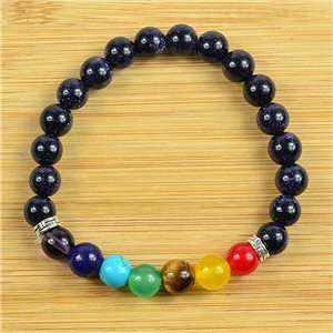 Lucky Bracelet Collection 7 Chakras Beads 8mm in Blue Sun Stone on elastic thread 79267