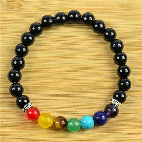 Lucky Bracelet Collection 7 Chakras Beads 8mm in Obsidian Stone on elastic thread 79262