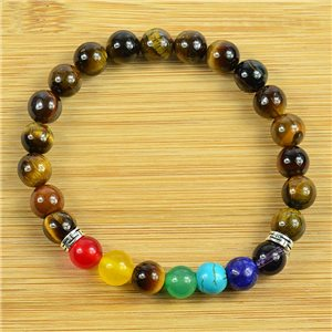 Lucky Bracelet Collection 7 Chakras Beads 8mm in Tiger Eye Stone on elastic thread 79265